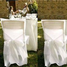 Housses de chaise satin decoration mariage pas cher deco for Housses de chaises blanches